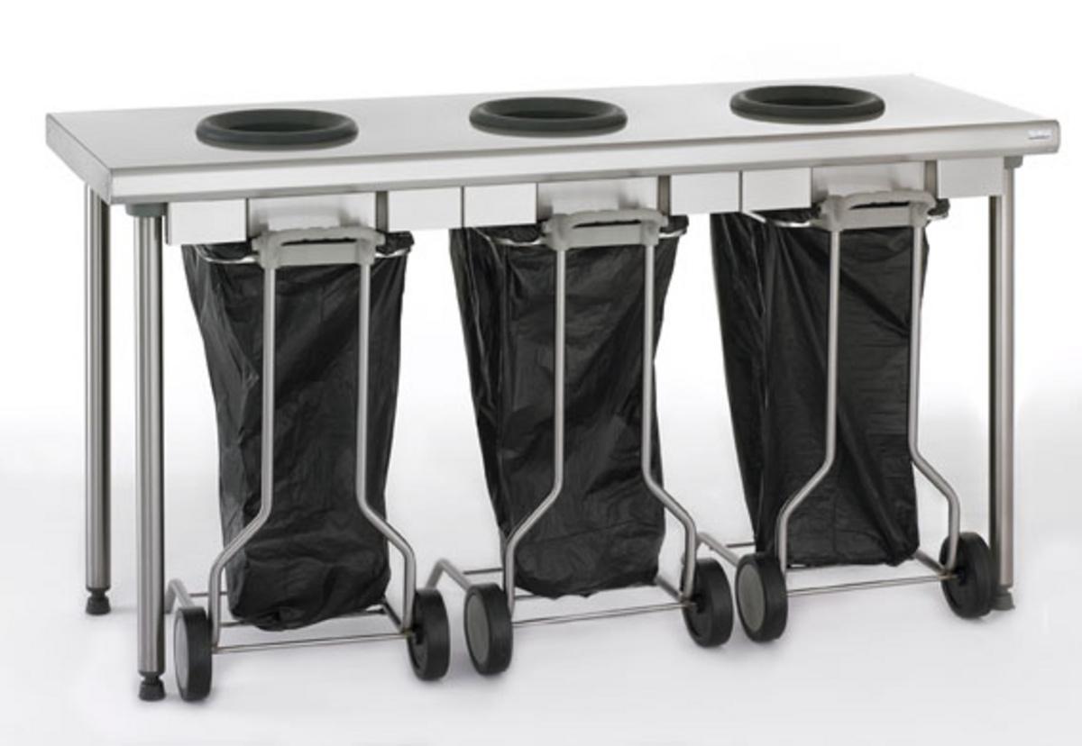 Table de pré-tri 3 trous inox 60x170 cm Tournus