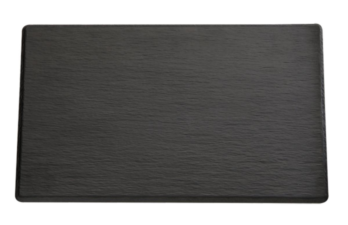 Plateau rectangulaire noir mélamine bord profilé Slate Aps