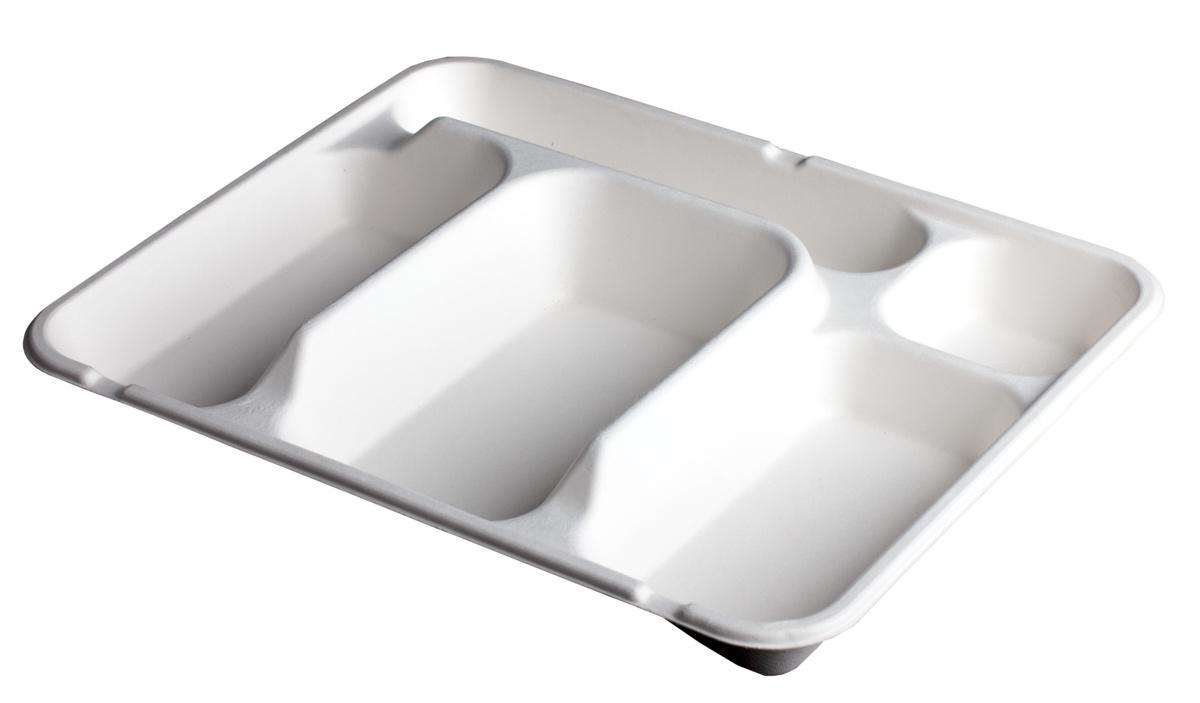 Plateau repas rectangulaire blanc fibre 24,50x30 cm Be Pulp Sabert (50 pièces)