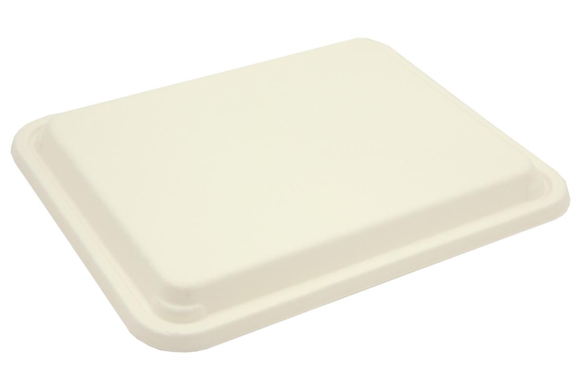 Couvercle pour plateau-repas rectangulaire blanc fibre 25x31 cm Be Pulp Sabert (50 pièces)