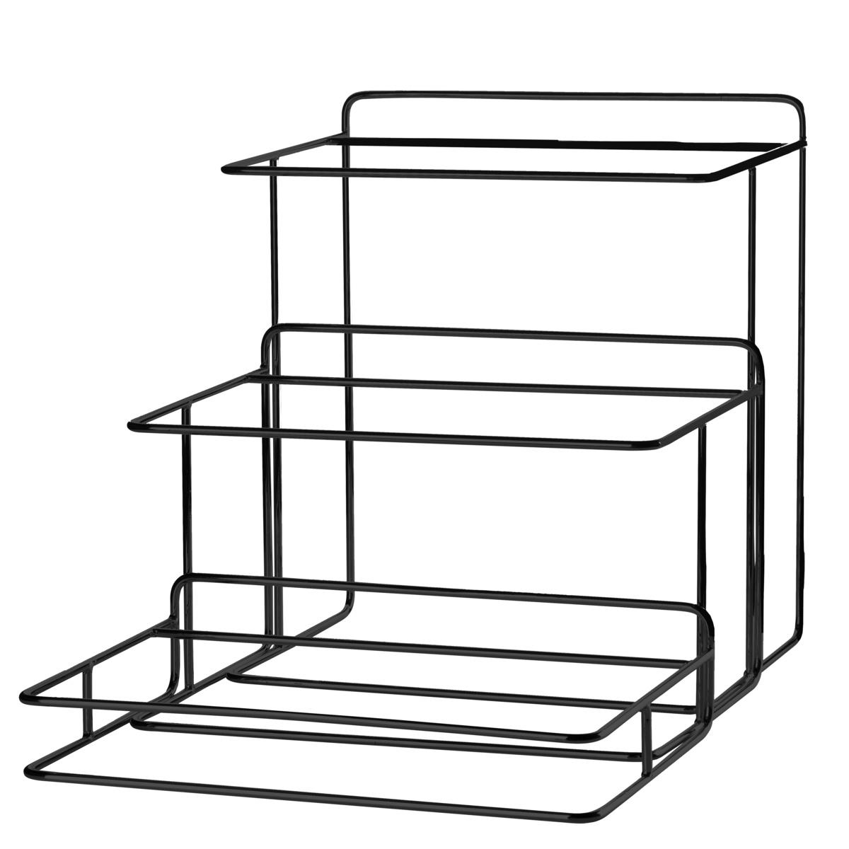 Support 3 niveaux rectangulaire noir acier 42 cm Evento Degrenne