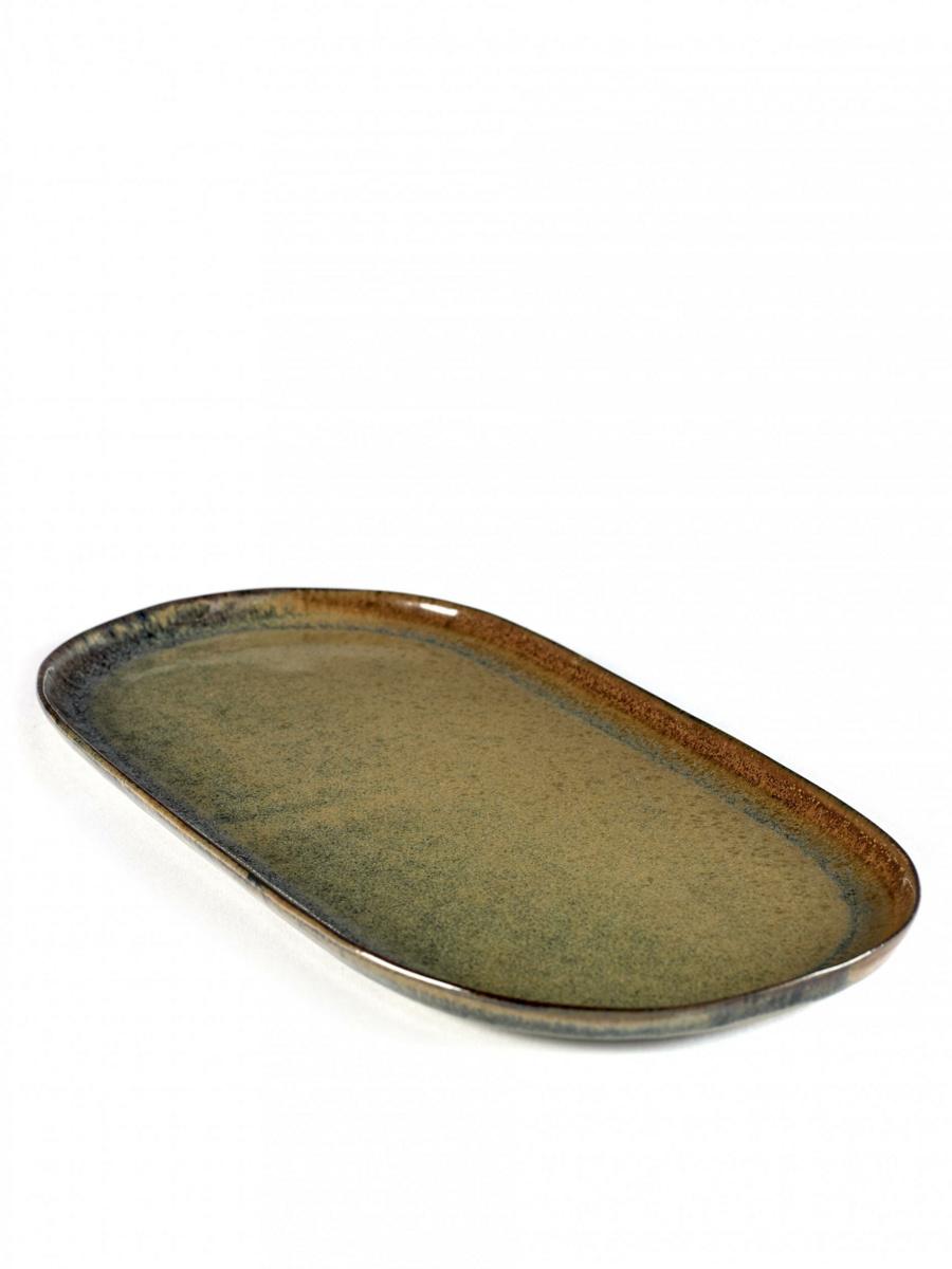 Assiette plate ovale indi grey Surface Serax
