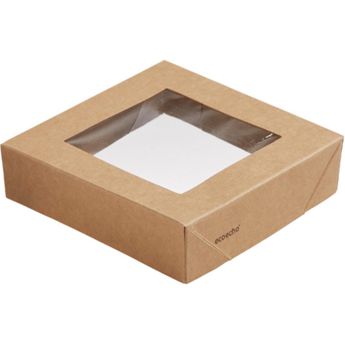 Couvercle fenêtre pour boîte 51/82 cl rectangulaire marron 11,30x11,30 cm Viking Duni (300 pièces)