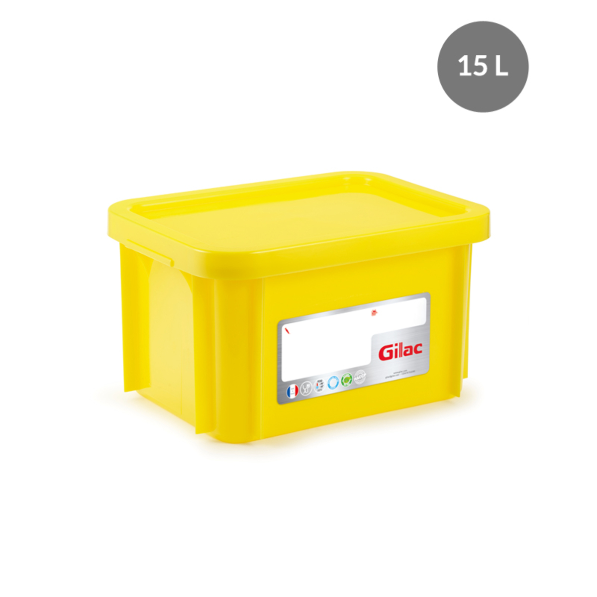 Bac gerbable rectangulaire jaune 15 l Gilac