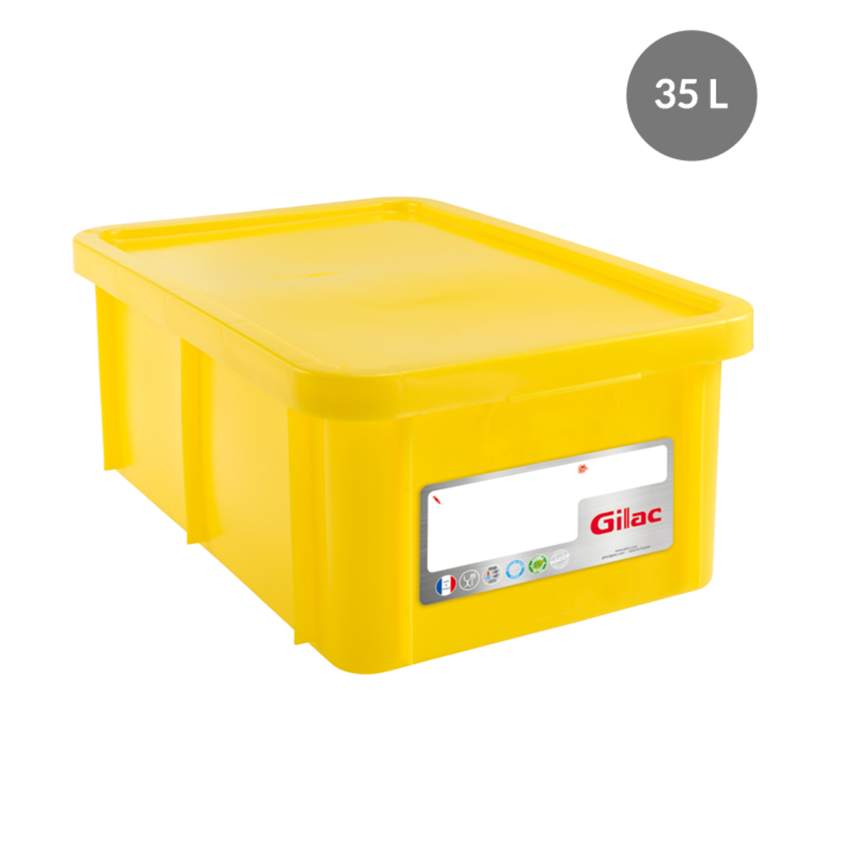 Bac gerbable rectangulaire jaune 35 l Gilac