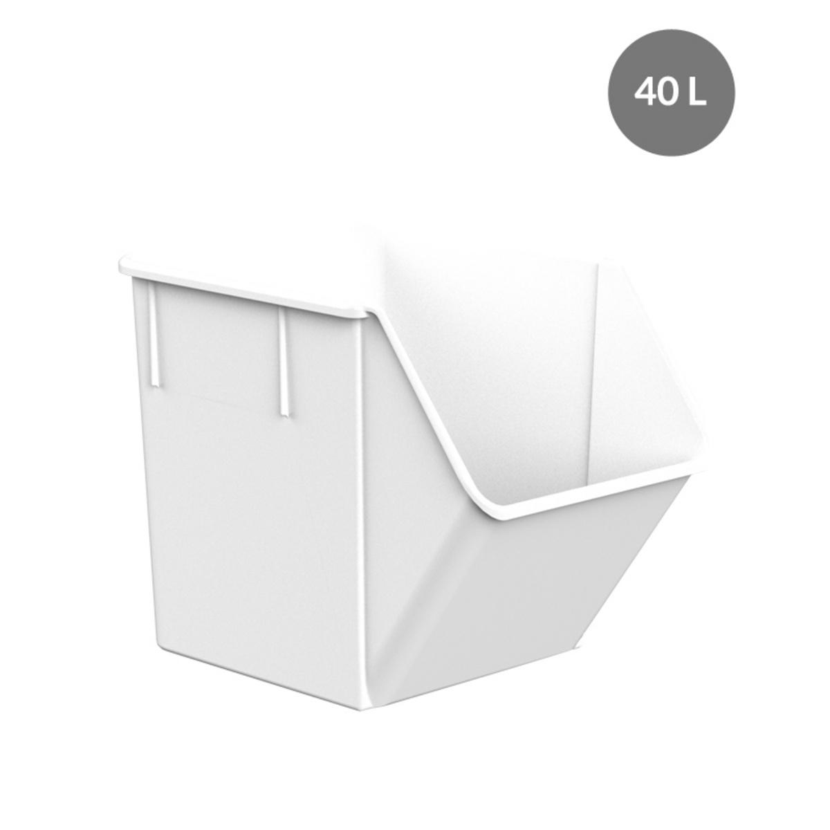 Bac à ingrédients rectangulaire blanc plastique 40 l Gilac