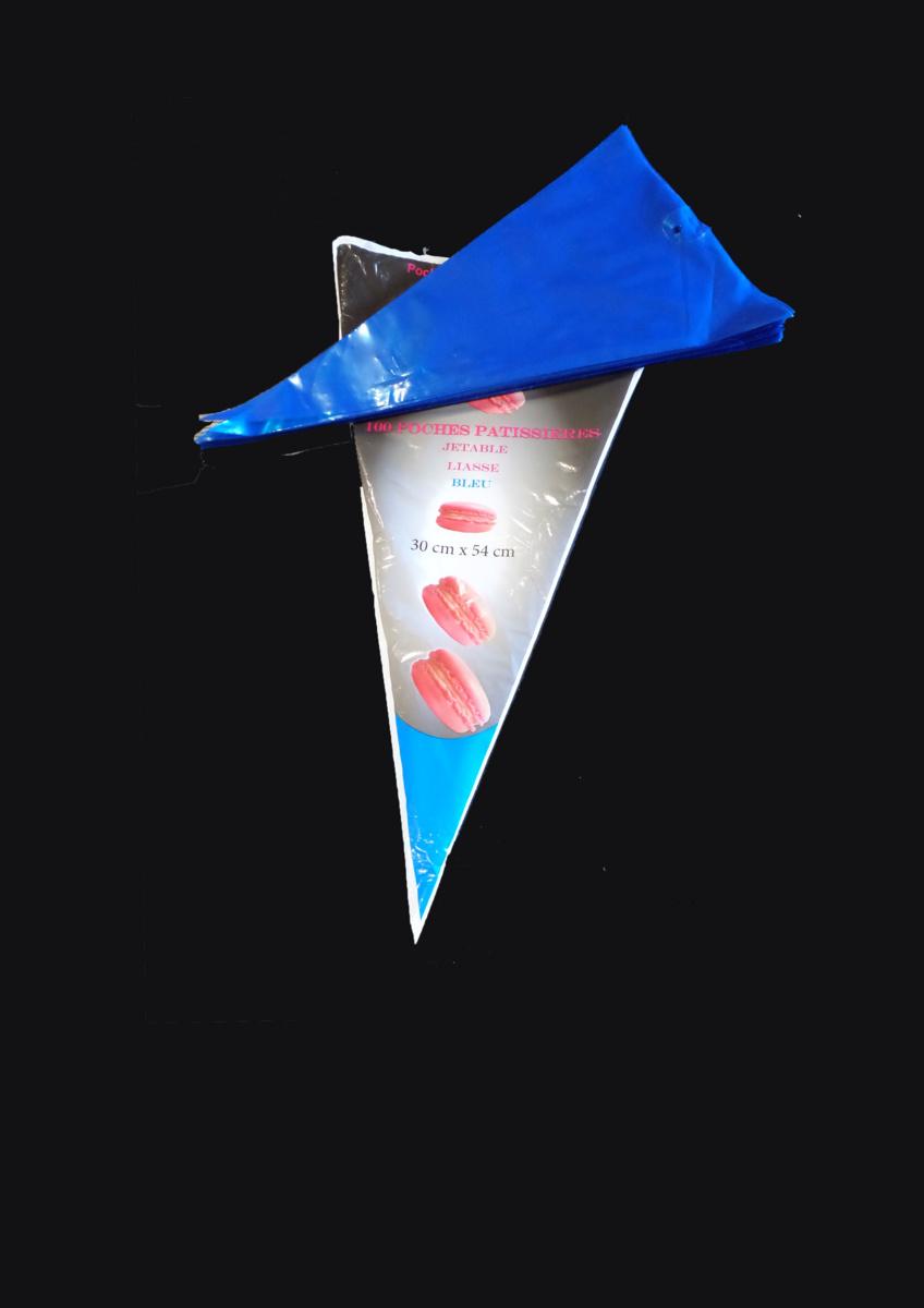 Poche patissière jetable triangulaire bleue 540x300 mm 80 µm (100 pièces)