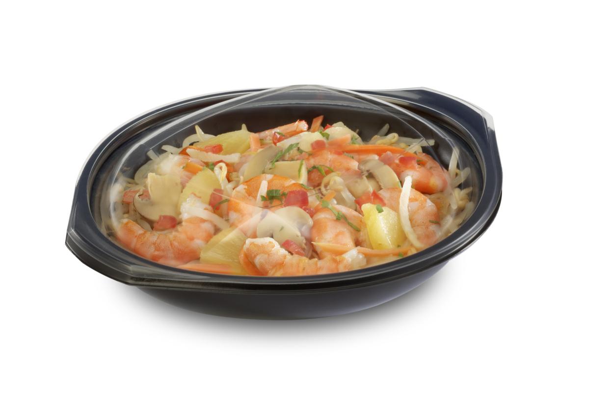 Boîte wok avec couvercle noire 19,20x22,90 cm 75 cl Wokipack Alphaform (25 pièces)