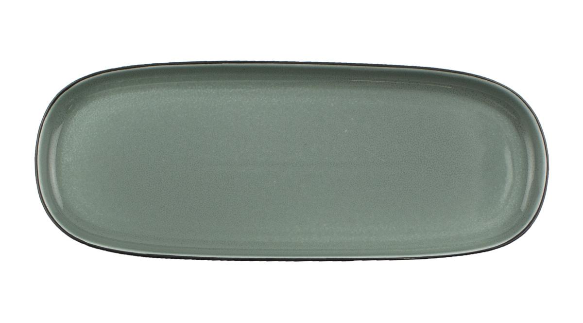 Assiette coupe plate rectangulaire bleue porcelaine 12x30 cm Ikon Ariane