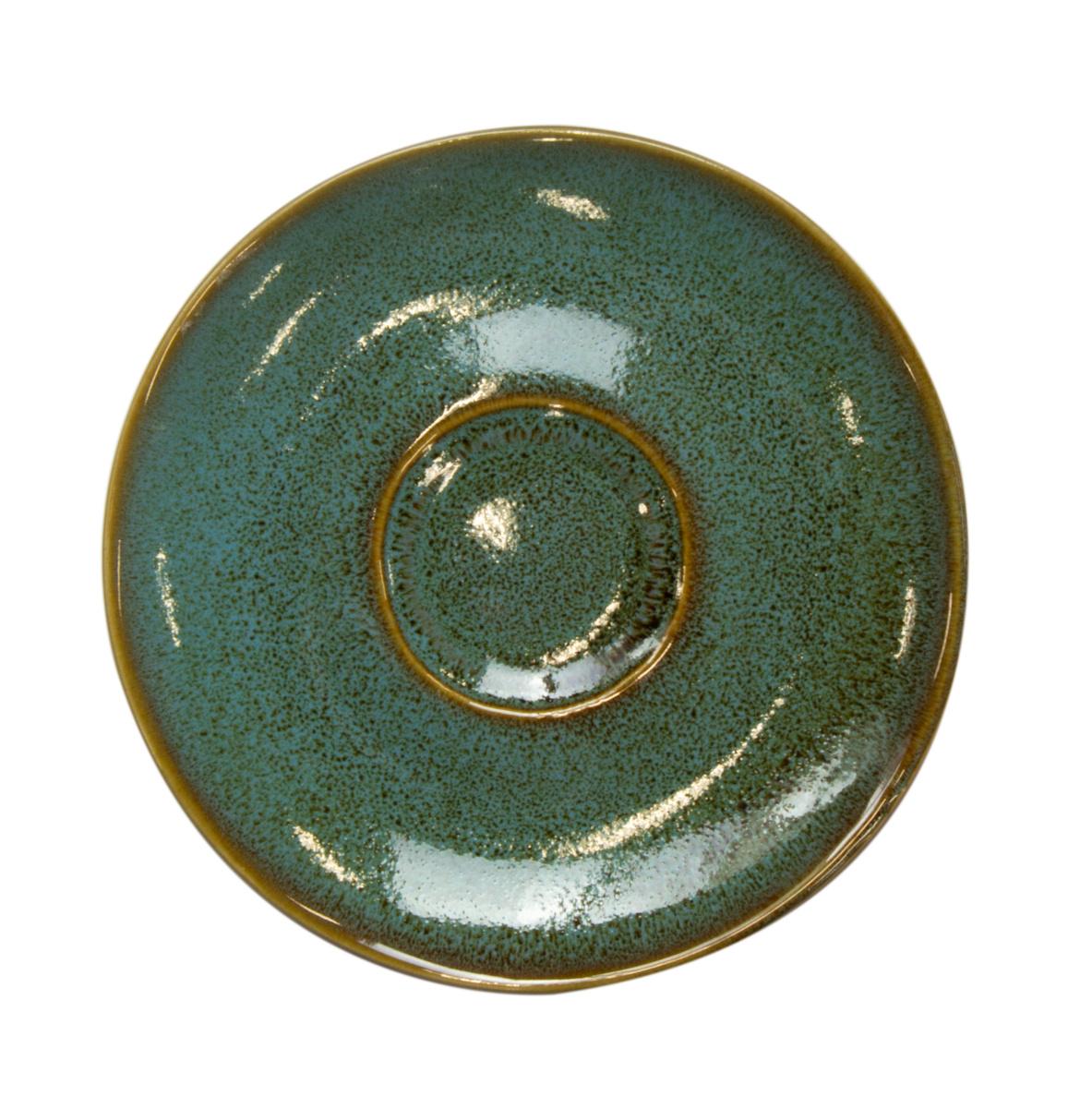 Sous tasse ronde verte grès Ø 14 cm Sky Pro.mundi
