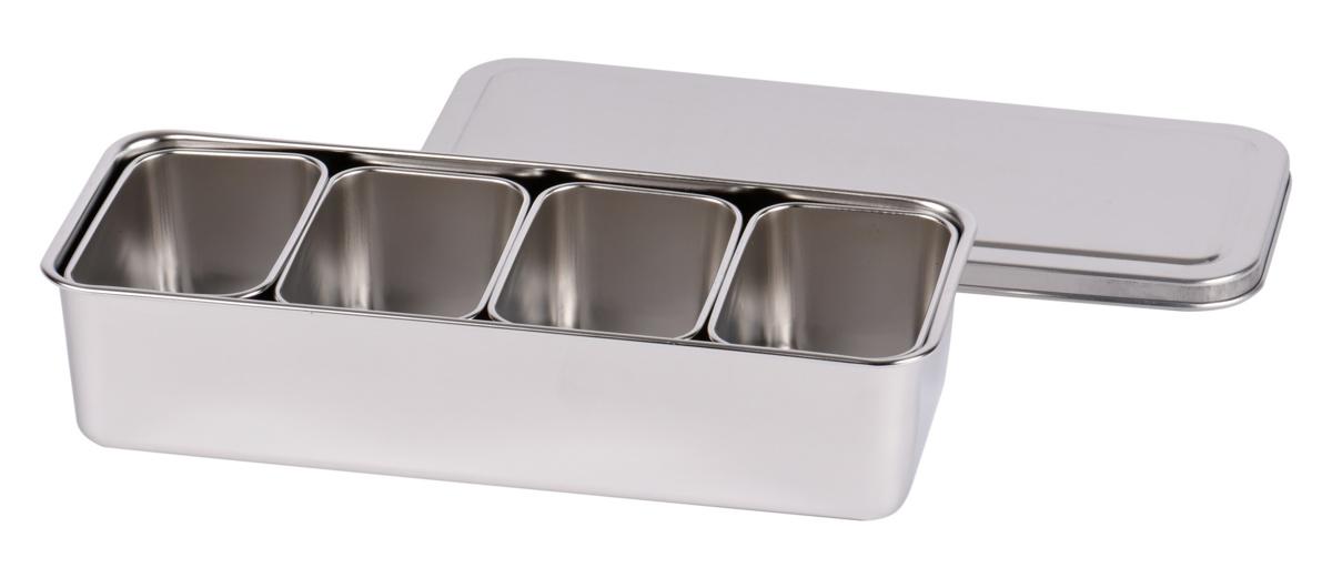 Bac avec couvercle 4 mini boites inox 11,80x28,10 cm L.tellier